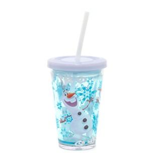 verre olaf avec paille, gobelet la reine des neiges, joli gobelet